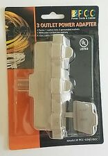 3 OUTLET POWER ADAPTER indoor outdoor TRIPLE TAP Plug GROUNDED RAIN COVERS NEW