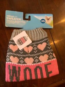 dog sweater, says WOOF, by Vibrant Life, gray pink Size Extra Small, new NWT toy