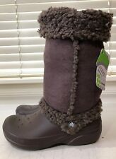 285836ba2 Crocs NADIA Women s Brown Rubber Fur Sherpa Lined Snow BOOTS Size 7 New
