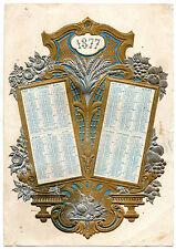 CALENDARIO RILIEVO 1877 JOURNAL DEMOISELLES GRANO FRUTTA FIORI CACCIA cm 20 X 28