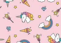 A4| Cute Girly Poster Print Size A4 Girls Unicorn Rainbow Poster Gift #14698