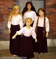 Girls SKIRT & BLOUSE Victorian peasant or Medieval wench costume fancy dress B&W