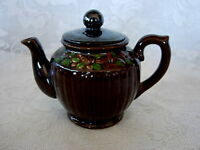 Collectible Vintage Mid-Century MADE IN JAPAN Hand Painted Brown Ceramic Teapot