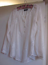 See Through Cream Floral Embroidered Wallis Blouse Top in Size S / Size 10 - 12