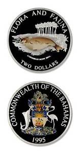 Bahamas Caribbean Monk Seal 1995 $2 Proof Silver Crown Color