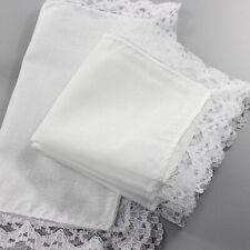 Vintage Ladies Handkerchief White Cotton Center White Crotchet Lace Edge shan