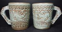 2 Frankoma Prairie Green Glazed Pottery Cups Tribal Mayan Aztec Tiki  7CL USA