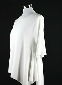 DEREK LAM NY Womens Asymmetrical Tunic Shirt Top White M Short Sleeve Scoop Neck