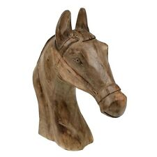 Cabeza de Caballo Madera 36cm Busto Paseo Western Figura, Escultura Decoración
