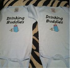 funny twin baby clothes drinking buddies new infant bodysuit shirts twin babies