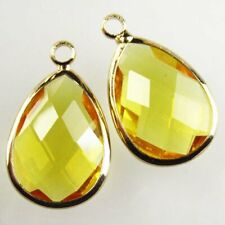 Crystal Teardrop Pendant Bead L06607 2Pcs Wrapped Faceted Yellow Titanium