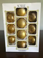 Box of 10 Noelle Vintage Gold Glass Christmas Ornaments Glitter Frost Snowflake