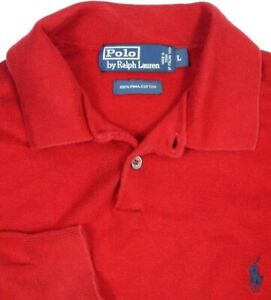 Polo Ralph Lauren Pullover Ribbed Knit LS Polo Sweater/Sweatshirt Mens L* Red
