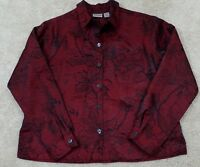 Chico's~Women's Size 1~Burgundy/Black Floral Print Lightweight Jacket Buttons.