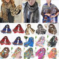 Womens Floral Print Scarf Neck Wrap Ladies Chiffon Shawl Scarves Fashion Holiday