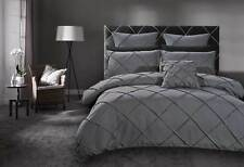 Stone Grey Quilt Cover Diamond Cross Pintuck Doona Cover Set - KING QUEEN