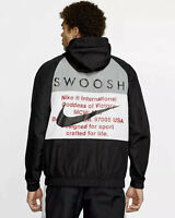 Nike Swoosh Woven Hooded Jacket (Men's Size L) Full Zip Windbreaker Coat Black