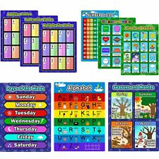 9Pcs Educational Preschool Posters Learning Poster Kit Toddlers Alphabet Number