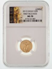 2013 Gold $5 MS70 American Eagle 1/10th Oz. Graded by NGC First Releases