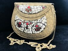 Ladies India Clutch Bag Purse Boho Handmade Metal Bridal Inlaid Stone UK SELLER