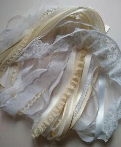 Ribbon & Lace Bundle - 25 x Generous Metres - Assorted Cream, White and Ivory