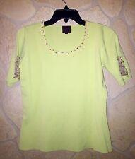 Colour Works Light Green Embellished Short Sleeve Top, Size S