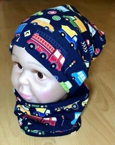 Set Beanie mit Loop Baby / Kleinkind Junge Gr. 38-52 Handmade BW-Jersey