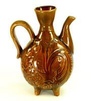 ~Mid-Century Water Jug Red Ware Earthenware Majolica Studio Pottery Ewer Rooster