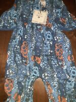 Kate Quinn NEW 0-3 Mos. L/S Squareneck Jumpsuit in Grotto Hollyhock Org Cotton