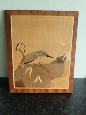 Vintage wooden marquetry picture of Kingfisher