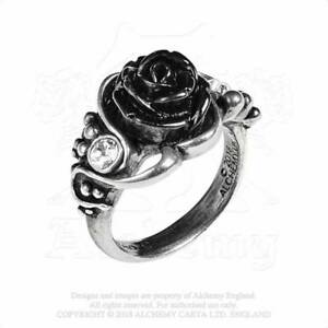 Alchemy Gothic Black Bacchanal Rose Flower Vine Crystal Pewter Ring UK Made R223