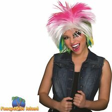 1980's FEMALE MULTI - COLOURED MULLET WIG Ladies Womens Fancy Dress Costume