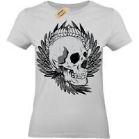 Skull biker punk metal goth rock alternative cool T-Shirt Womens Ladies top