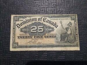 RARE! Dominion of Canada 1900 -25 Centl Bill Currency