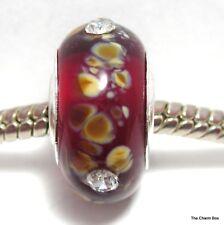 OCHRE SPECKLED BURGUNDY WITH CLEAR STONES Murano Glass European Bracelet Bead