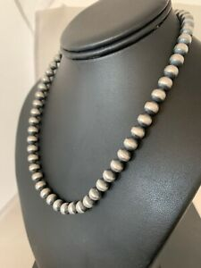 """Childrens Petite Women Navajo Pearls 8mm Sterling Silver Bead Necklace 17"""" 4322"""