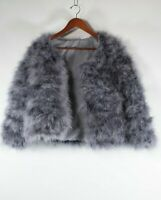 Unbranded Women's Extra Small XS Gray Jacket Marabou Feather Fluffy Cropped Coat