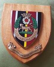 VINTAGE YORK AND LANCASTER REGIMENT WOODEN PLAQUE SHIELD Hand Painted