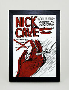 NICK CAVE Vancouver  Vintage style Framed A3 Poster Print MADE IN UK
