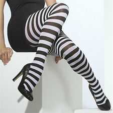 BLACK AND WHITE STRIPED STRIPEY TIGHTS ADULT SIZE, SIZE: ONE SIZE