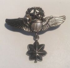 VINTAGE US WW2 SILVER WINGS MILITARY AIR FORCE PILOT STERLING BADGE PIN MEDAL