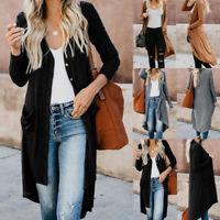 Women's Full Length Maxi Cardigan Duster Long Sleeve Open Front Sweater Coat