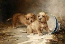 ZWPT592 two animals dogs playing 100% hand painted art oil painting on canvas