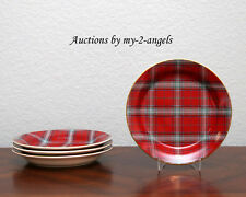 NEW Williams-Sonoma Holiday TARTAN SALAD DESSERT PLATES Scottish Plaid S/4 *More