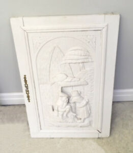 Antique French Breton Carved Wooden Door / Plaque with Figures