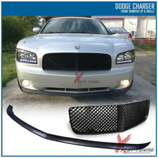 Fits 05-10 Dodge Charger Front Bumper Lip + Mesh Grille Black OE Type