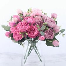 30cm Rose Pink Silk Peony 5 Big Head And 4 Bud Cheap Artificial Flowers Bouquet