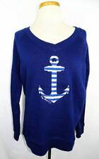 New Womens MV Sport Navy Raglan LS V Crewneck Sweatshirt w/Anchor M BAY SHORE CC