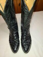 Nocona Boots men cowboy boots black full quill ostrich excellent condition