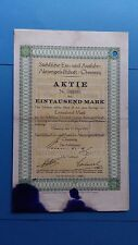 Aktie Sächsische Ein- und Ausfuhr-AG 1000 Mark 1921 -nur 4 Stück im RB-Schatz
